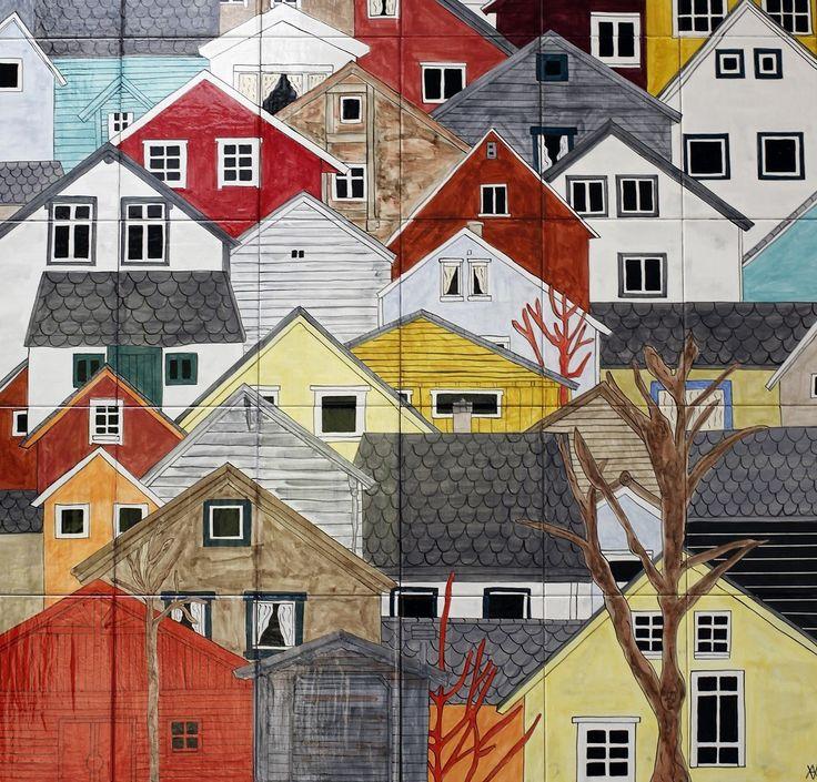 Ceramic tile painting 91 x 81cm Virginia Arregui
