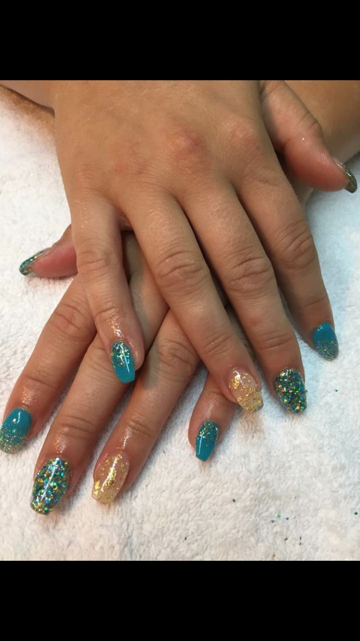 Gel nails by Julia using bio sculpture gel and glittergasm glitters