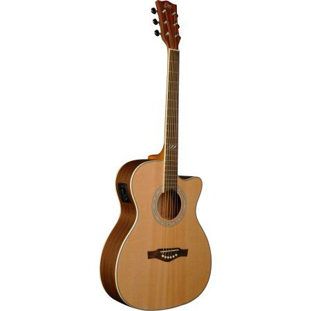 EKO Guitars TRI Series Mini Dreadnought Acoustic/Electric Guitar, Beige