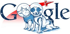 Google Russia Logo 2010 Belka and Strelka - possibly the first time ever that dogs were used in a Google Doodle
