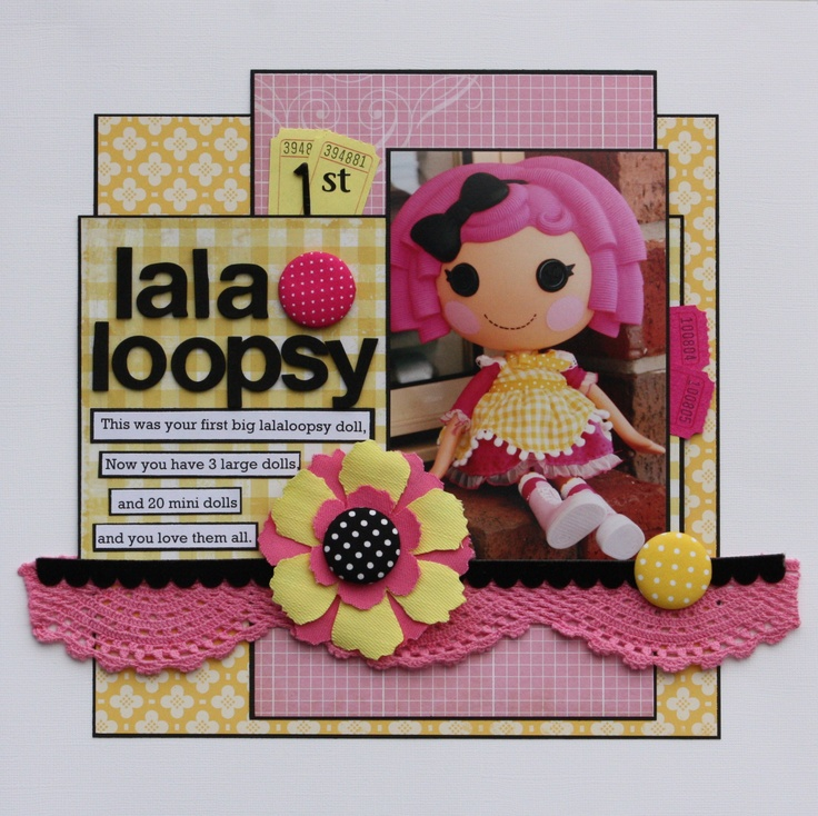 1st LALALOOPSY - Scrapbook.com: Scrapbook Idea Card, Aaa Scrapbook, Scrapbook Ideascard, Scrapbook Inspiration, Cute Idea, Scrapbook Layout, Scrapbook Sketch, 1St Lalaloopsy, Card Scrapbook