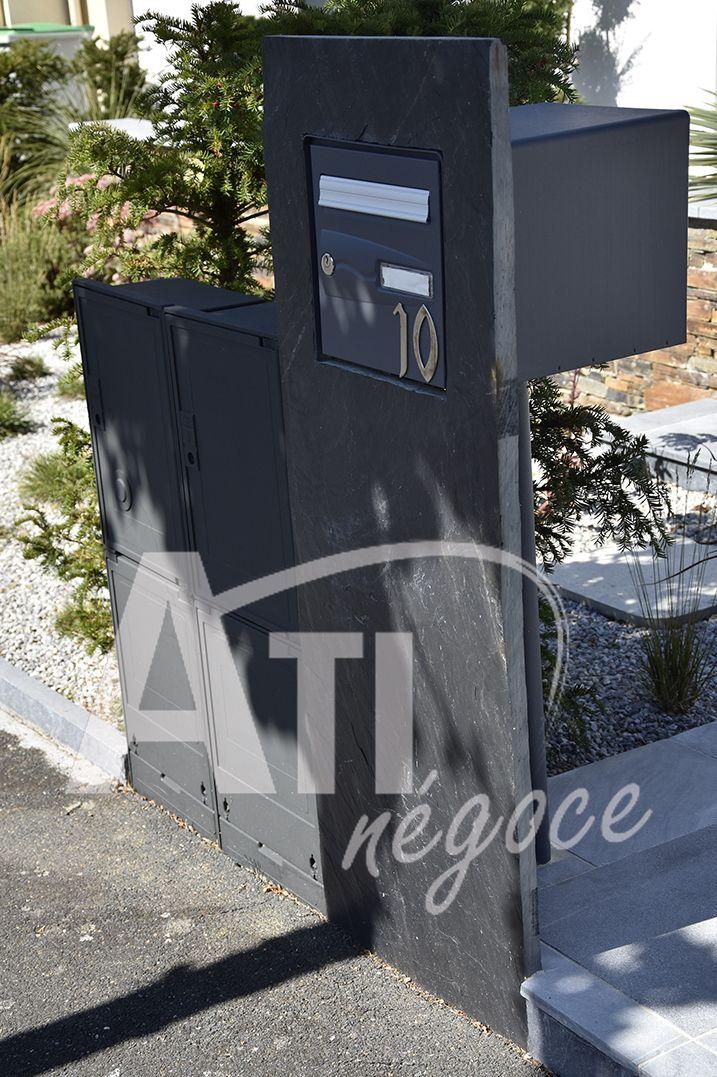 Palis Ardoise Boite Aux Lettres Moderne Boite Aux Lettres Amenagement Paysager Amenagement Jardin Cloture