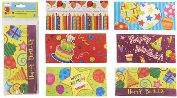 Birthday Money & Gift Card Holders (6 pack) - 72 Units