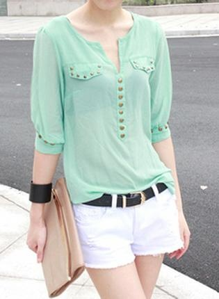 Rivets Chiffon Green Blouse  S001881,  Top, Rivets Chiffon Green Blouse, Chic