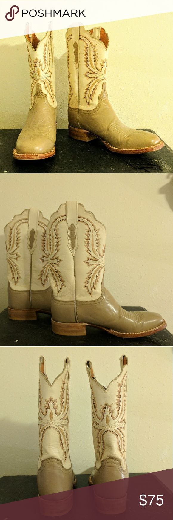 Vintage Women's Cowboy Boots Super cute vintage genuine leather cowboy boots. In excellent condition and have only been worn a few times. The boots run narrow which can be seen in the last photo. Vintage Shoes Heeled Boots