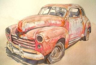 Auto rojo oxidado