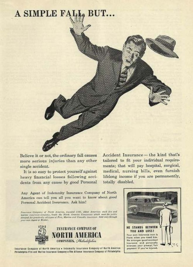 """Old vintage """"Personal Accident Insurance"""". Insurance ads"""