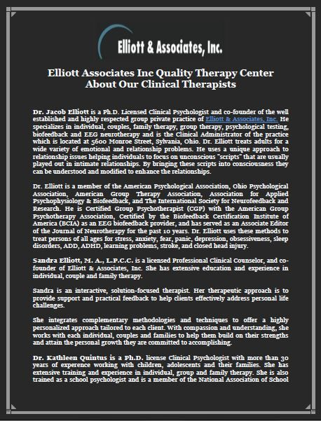 Elliott Associates Inc Quality Therapy Center About Our Clinical Therapists -Dr. Jacob Elliott is a Ph.D. Licensed Clinical Psychologist and co-founder of the well established and highly respected group private practice of Elliott & Associates, Inc.