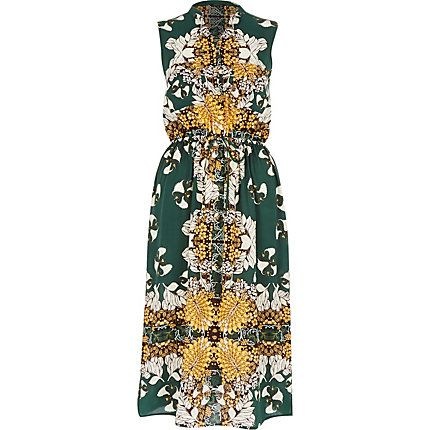 Green vintage print sleeveless shirt dress £45.00