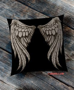 Angel Wings Black pillow case, Custom Pillow case, Square Rectangle pillows case