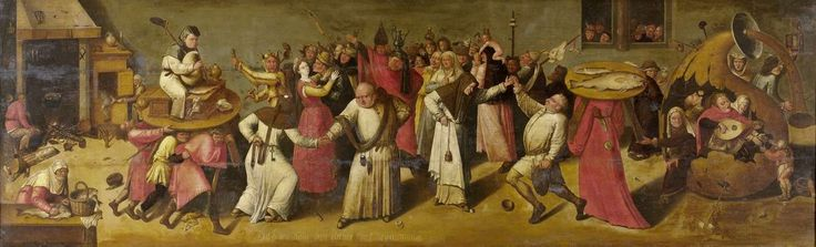 The Battle between Carnival and Lent, c.1600 - c.1620', manner of Jheronimus Bosch; symbolic details include the piper, personifying carnival; fishes, symbolising Lent. (Rijksmuseum)
