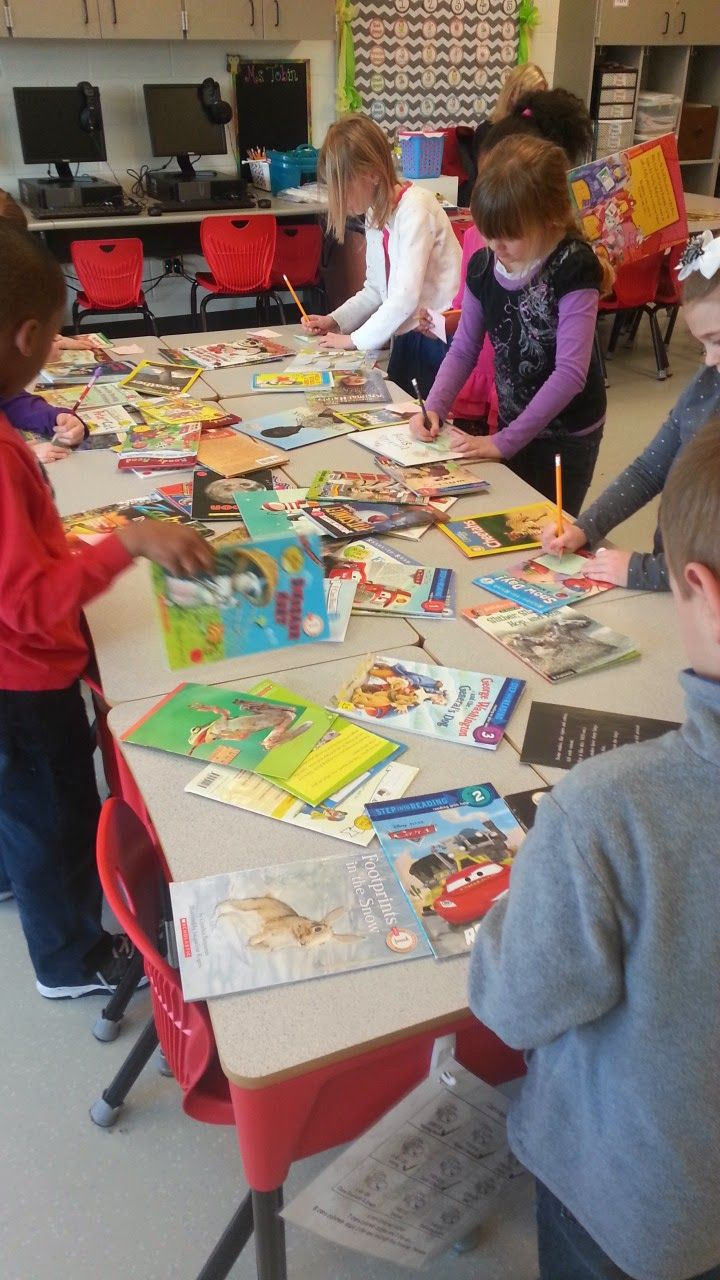 """Finding Fiction vs. Nonfiction books. I would have butcher paper on table, with 2 sides labeled as """"Fiction"""" and """"Non-Fiction."""" Have books all over the table. Students can sort the books or check them out!"""