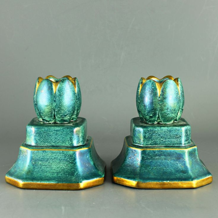 Josef Ekberg (1930s) Amazing Luster Glaze Candle Holders