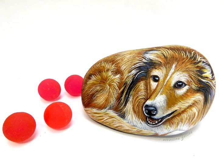 Lassie, a rough collie, hand painted on stone by Ernestina Gallina, Pietrevive rock art.