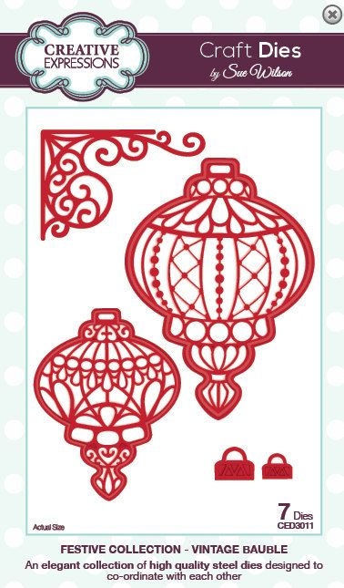 Creative Expressions Sue Wilson Die -Festive Collection - Vintagel Bauble - CED3011