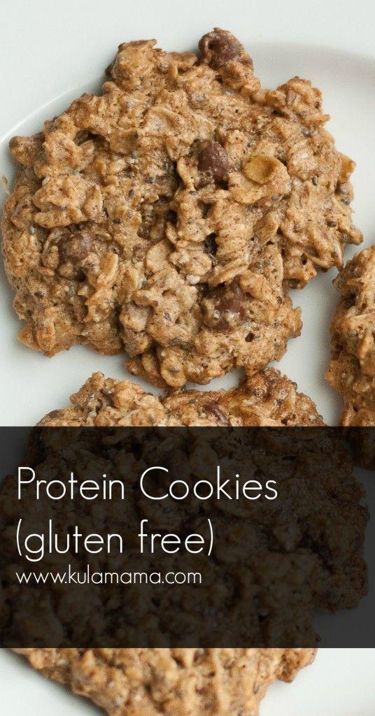 Protein Cookies (Gluten-free, Dairy-free, vegan) - Kula Mama. Use raisins instead of chocolate and flax seeds/water instead of eggs