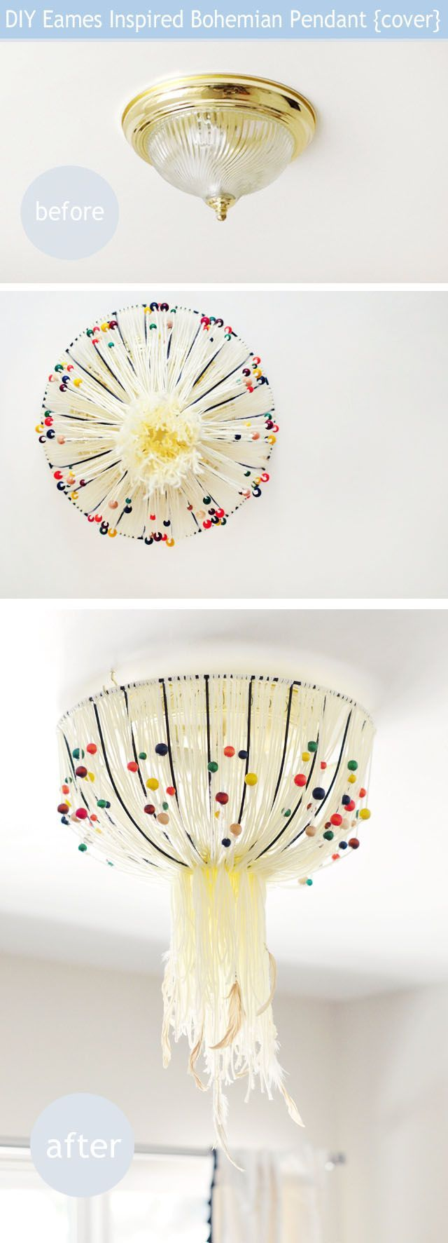Diy eames inspired bohemian pendant lamp to cover old - Diy ceiling light cover ...