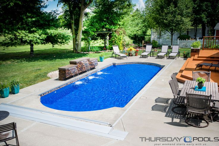 This backyard has a cathedral fiberglass pool design by for Pool design game