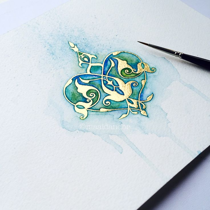 A rumi motif in watercolour and 23ct gold #rumi #motif #watercolour #art #islamicart #goldgilding #goldleaf