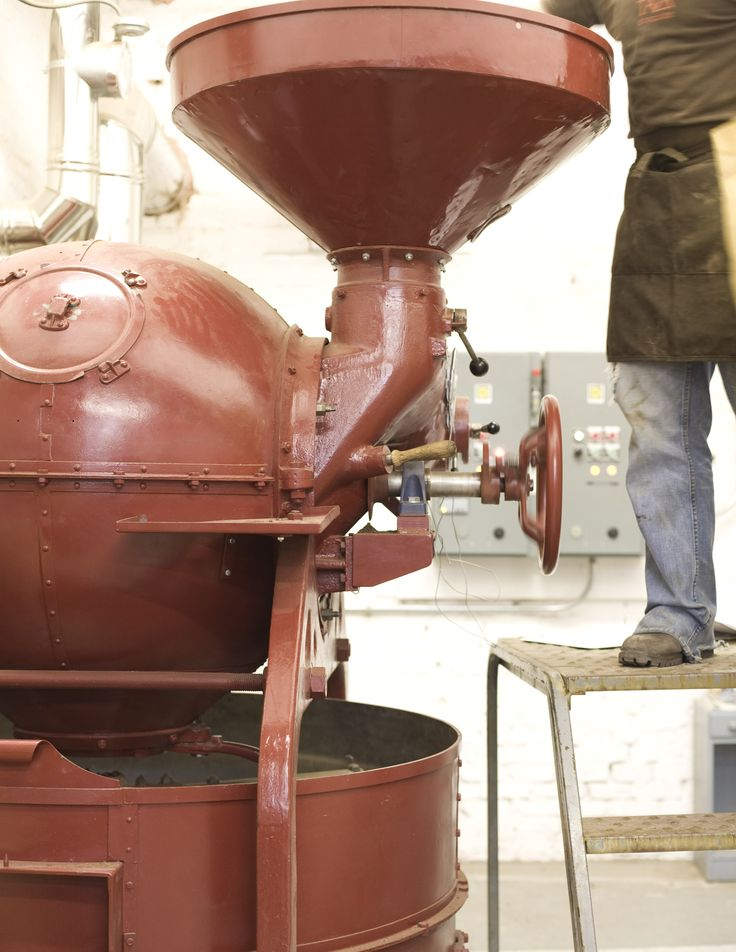 Taza Chocolate cacao beans are roasted in a mid-century, candy-apple red Barth Sirocco 200 cacao roaster.