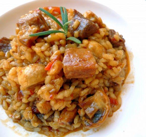 Arroz con pollo de corral y secreto de cerdo ibérico www.tiendajulianmartin.es