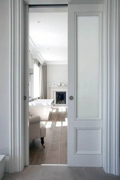 Closet doors are necessary, however usually ignored when it comes to room décor. Produce a new look for your room with these closet door ideas. It is necessary to produce unique closet door ideas to beautify your home decor. Sliding Pocket Doors, Door Design, Interior, Home, Sliding Doors Interior, Room Doors, Luxury Interior Design, Double Doors Interior, English House