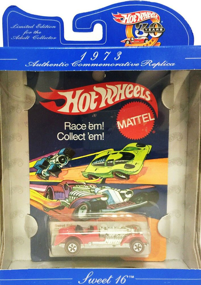 Hot Wheels 30 Years 1968 1998 Authentic Commemorative Replica 1973 Sweet 16 Mint Hot Wheels Shadow Box Display Case Commemoration