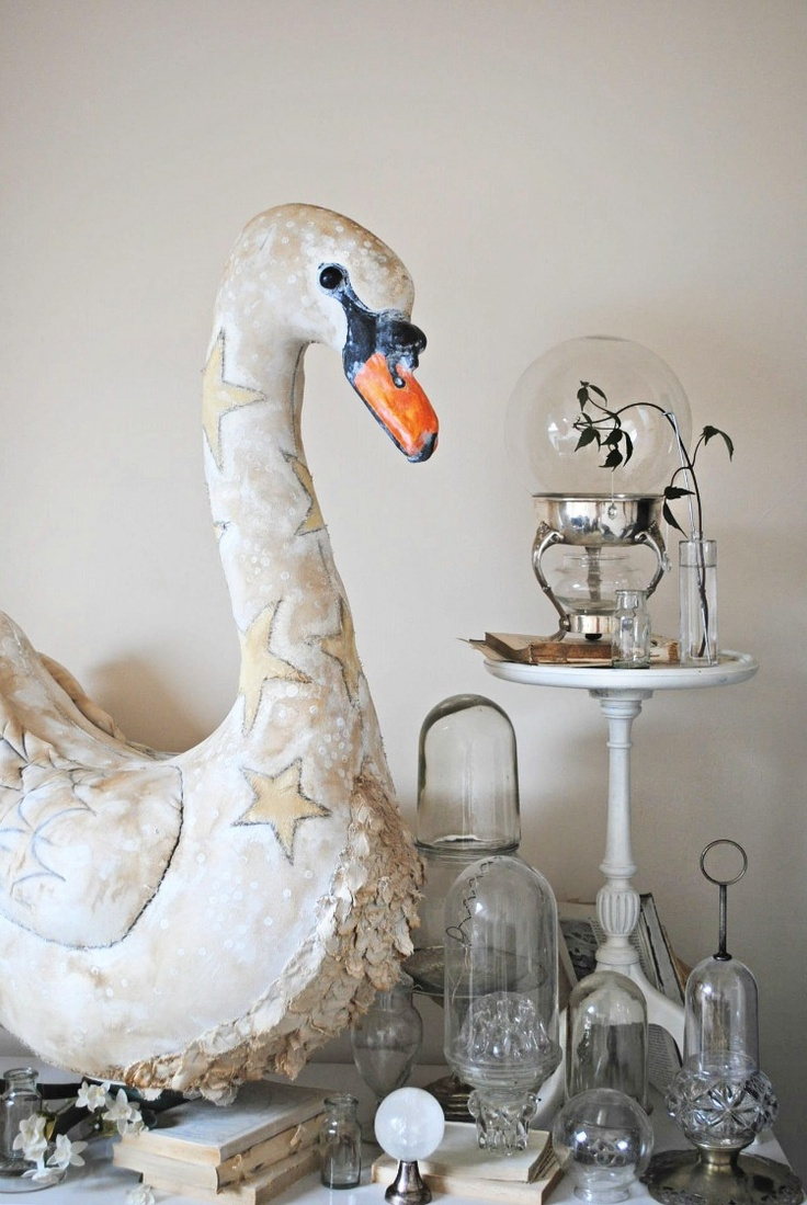 { Want this swan sooooo bad! }Textile swan by Mister Finch