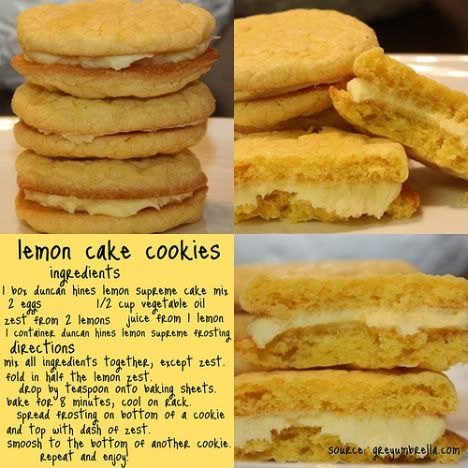 Lemon cake cookies - won't use a boxed mix, but the idea is great! I've been looking for good lemon cookies since the Girl Scouts dc'd their lemon pastry creams :)