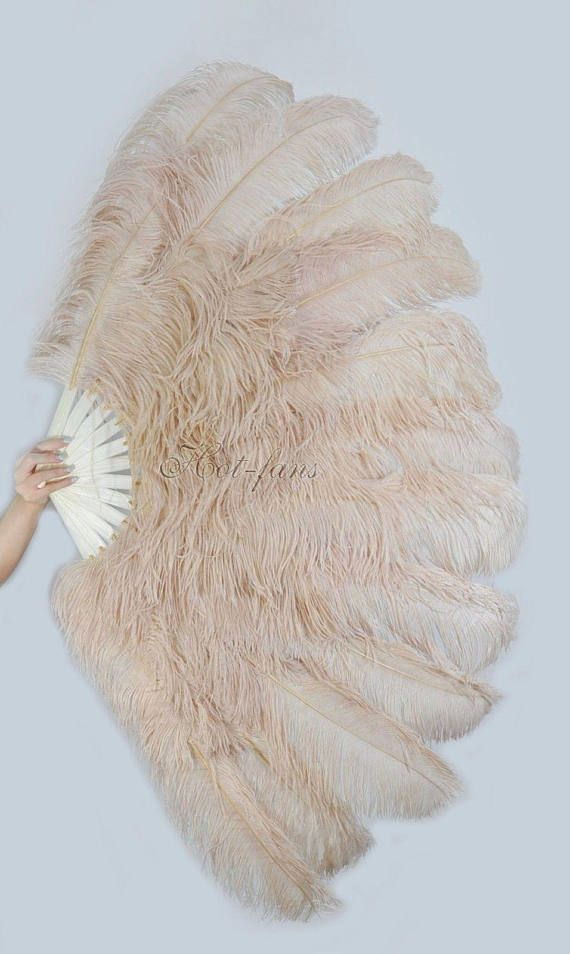 """Beige Camel XL 2 layers Ostrich Feather Fan 34/"""" x 60/"""" with leather Travel Bag"""