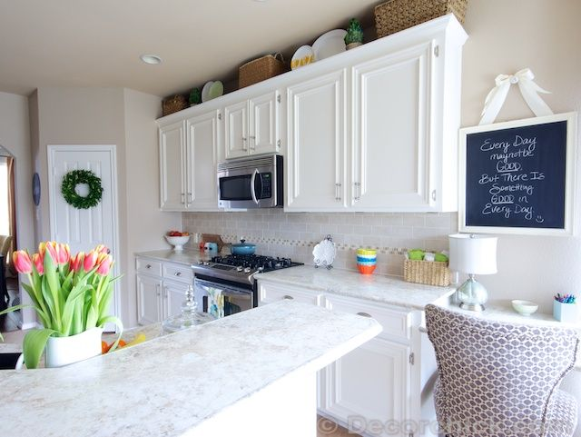 White painted kitchen cabinets they were previously dark for Can formica kitchen cabinets be painted