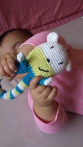 Crochet teddy rattle - my baby loves it! I followed this great pattern: http://isitatoy.blogspot.co.il/2012/10/teddy-rattle-free-pattern.html?m=1