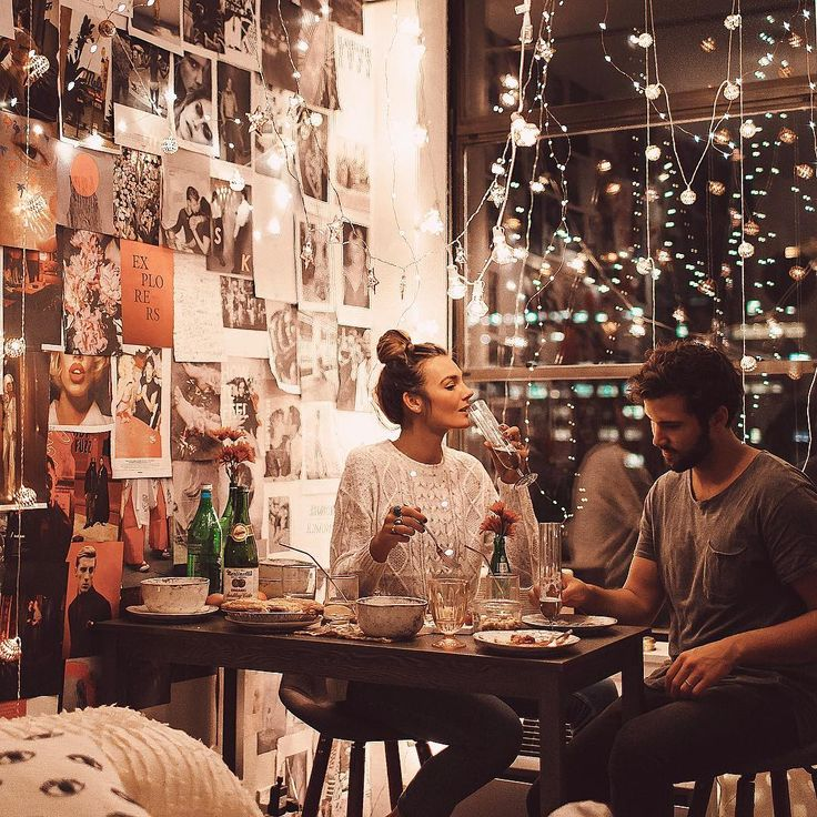 unique cafe, bar style, lights, moodboard wall, romantic feeling, great idea