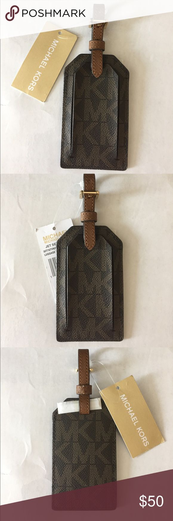 New w/tags MICHAEL KORS JET SET LUGGAGE TAG BROWN NEW WITH TAG MICHAEL KORS JET SET LUGGAGE TAG Brown Michael KORS logo all over tag. Info stays closed in w/ leather strap. VERY WELL MADE! Michael Kors Accessories Key & Card Holders