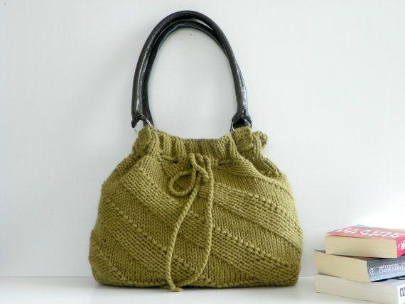NzLbags New - Green Mold Knit Bag, Handbag - Shoulder Bag, Leather Strap Nr-0189