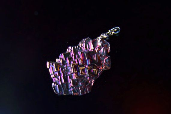 Iridescent Bismuth Metal Crystal Pendant with a Silver by deleas