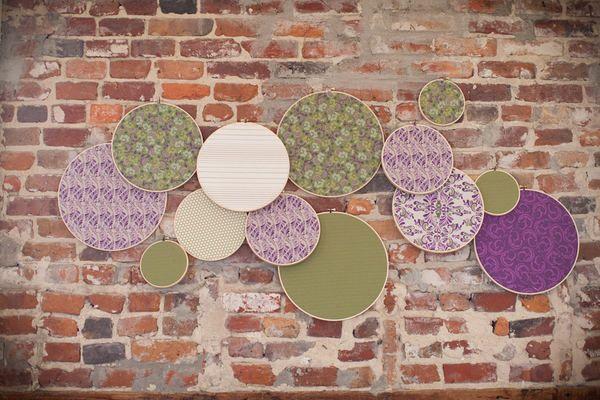 embroidery hoops: Wall Decor, Brick Wall, Scrapbook Paper, Wedding Colors, Brick Wedding Decor, Exposed Brick, Expo Brick, Style Me Pretty, Fabrics Wall