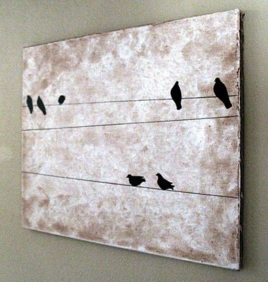 """""""like a bird on a wire..."""" Johnny Cash Use leftover blue paint & brown birds?"""