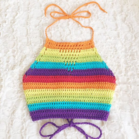 ☆ Rainbow Halter ☆  100% Cotton Size: XXS-XL (See size chart) Color: Rainbow *custom color options available!*  This top is an authentic design,