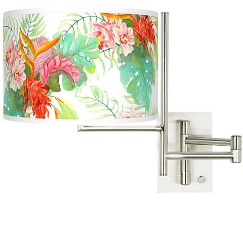 Tempo Island Floral Plug-in Swing Arm Wall Light