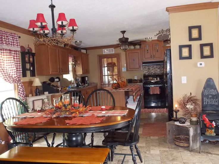 Country style black chairs primitive kitchen and mobile home living