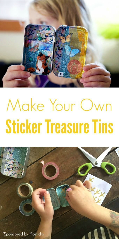 A Sticker Craft For Kids  Make Your Own Sticker Treasure Tins
