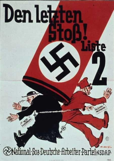 Temmuz 1932. siyasi muhaliflerine Nazi saldırısı - Parti Katolik Merkez ve Marksistler. Poster Marksistler ve Katolikler Milli sotsilizma karşı kutsal ittifak içine girmiş iddia
