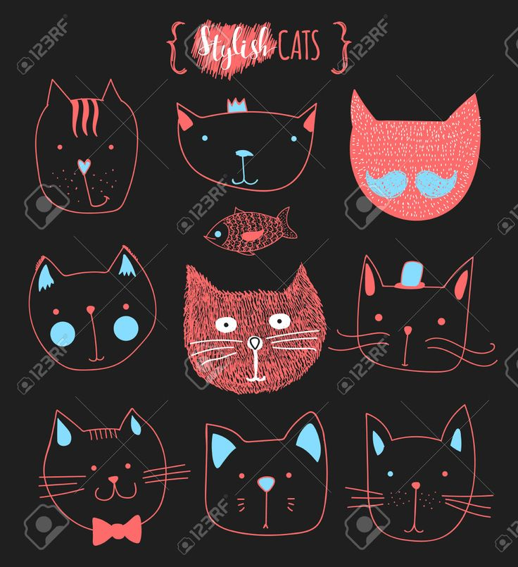 Набор милые каракули кошек. Эскиз кошки. Эскиз Cat. Cat ручной работы. Версия для печати футболки для кошки. Печать для одежды. Doodle Дети животных. Стильные морда кошки. Изолированные кошка. Pet Клипарты, векторы, и Набор Иллюстраций Без Оплаты Отчислений. Image 52987545.