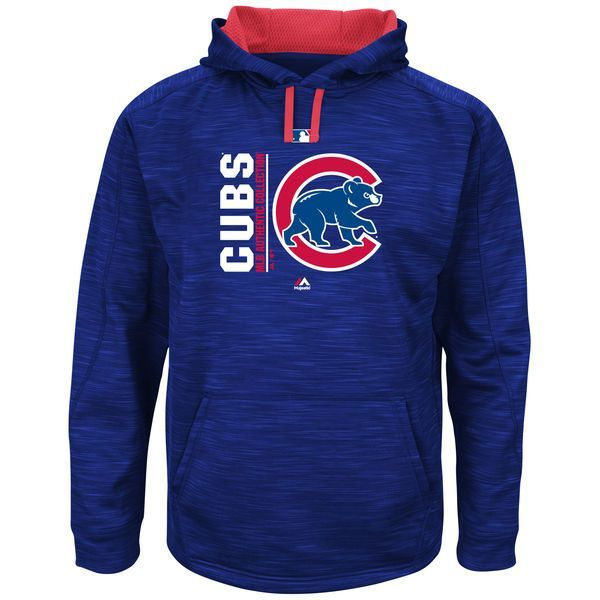 Chicago Cubs Majestic Authentic Collection Team Icon Streak Fleece Pullover Hoodie - Royal/Red