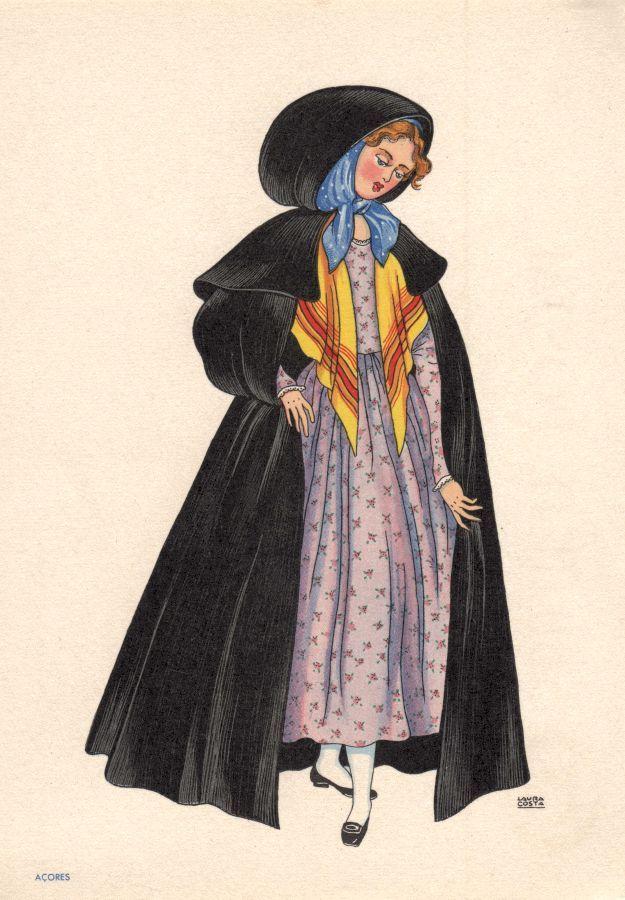 OLIVA - Enorme capote com romeira e capuz de pano preto. Vestido de tecido florido. - Lito. Nacional - S/D - Dimensões: 15x10,5 cm - Colecção M. F. Silva