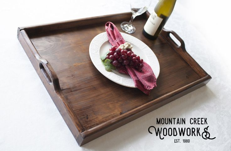 "Wooden Serving Tray, Serving Tray, Dinner Tray, Wooden Dining Tray, Serving Platter, Wooden Dinner Platter, Handmade Serving Tray, 23"" x 16"" by MtnCreekWoodworks on Etsy https://www.etsy.com/listing/462326770/wooden-serving-tray-serving-tray-dinner"