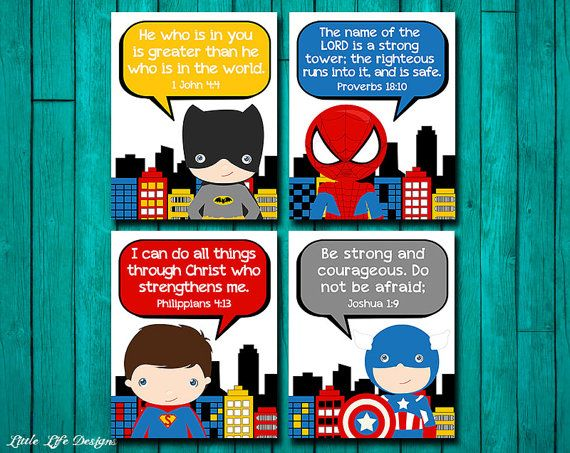 Superhero Wall Art. Superhero Boys Decor. Superhero Signs. Superhero Decor. Christian Wall Art. Bible Verses. Boys Room Decor. Super hero!