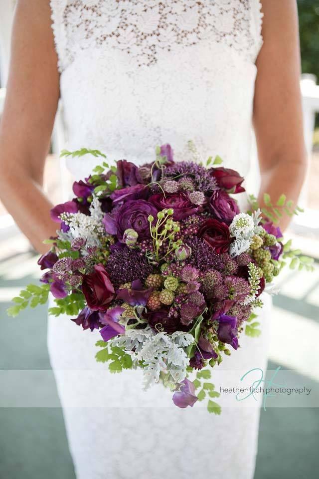 deep plum with grey tones/ centralfloridaweddingflowers/ www.callaraesfloralevents.com.