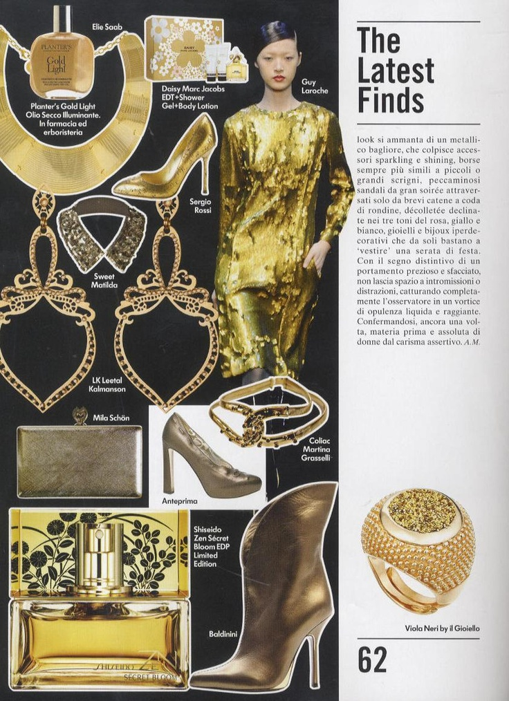 Vogue Accessory December 12th 2012 - Mila Schön FW 2012.13 golden clutch